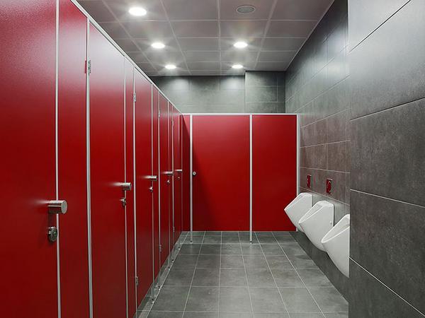 фото №16 - серия СТАНДАРТ, туалетные перегородки ТИП 1 (от стены до стены) красное ЛДСП 16 мм, фурнитура STC металл, ширина двери для инвалидов 900 мм