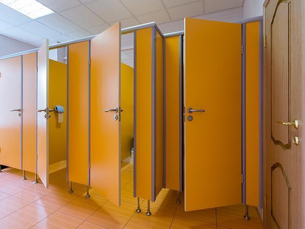 фото №2 - серия БИЗНЕС, туалетные кабины ТИП 1 (фасад от стены до стены) ЛДСП 25 мм, фурнитура FUARO/APECS, опоры регулируемые (нержавеющая сталь)