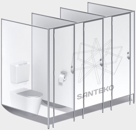 Туалетные перегородки, сантехнические кабины для санузлов из ЛДСП 16-25мм.